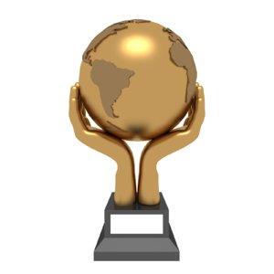 trophy award hand globe 3D model