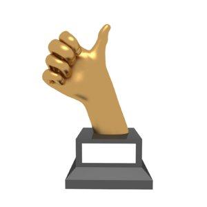 3D trophy award hand thumb