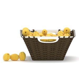 wicker apricot fruit basket 3D model
