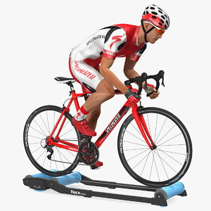 3D model bicyclist riding tacx galaxia
