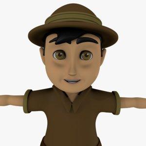 explorer cartoon boy 3D