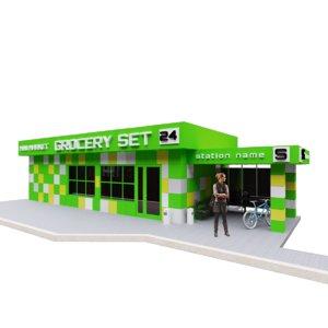 pavilion building green-yellow-white 3D model