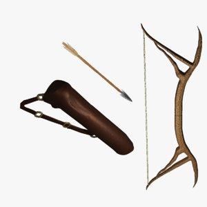 bow arrow quiver 3D
