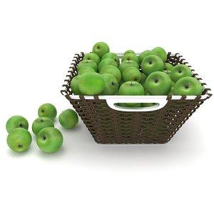3D model wicker apple fruit basket