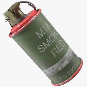 3D model m18 smoke grenade red