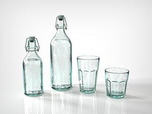 vintage glass bottle classic 3D