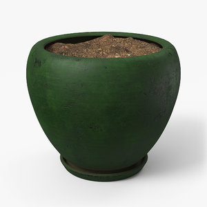 3D pot dirty green