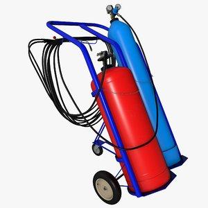oxygen propane torch welding 3D model