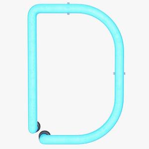 3D neon letter d light model