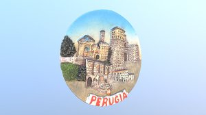 perugia italy magnet souvenir 3D