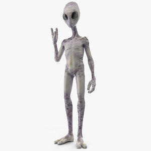 3D humanoid alien greeting pose