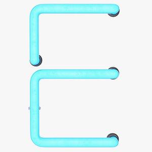 neon letter e light 3D