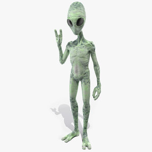 3D model green alien greeting pose