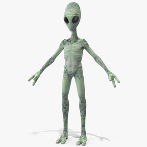 green alien neutral pose model