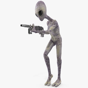 humanoid alien attacking pose model