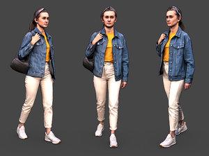 3D woman girl character model