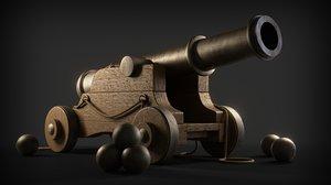3D model war cannon