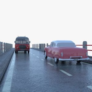 viaduct antique car vehicles 3D model