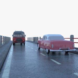viaduct antique car vehicles 3D model