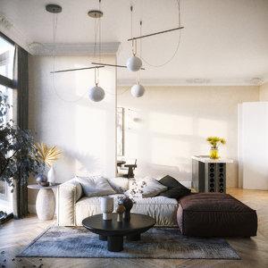 3D kitchen living interior