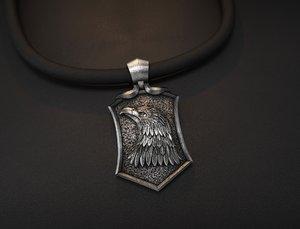 3D jewelry eagle pendant model