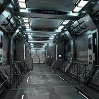 Sci-Fi Modular Corridor with Door Version 1 - Low Poly