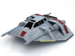3D star wars snowspeeder snow model