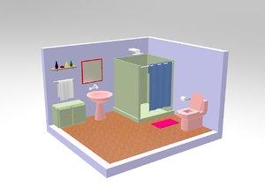 bathroom interior cartoonish model