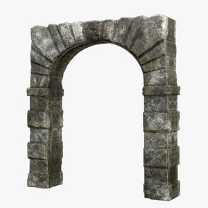 low-poly medieval arch 3D model