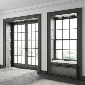 3D double-hung windows model
