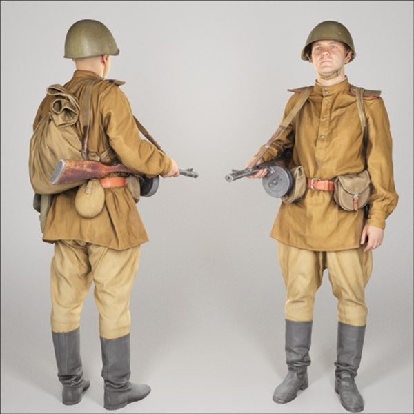 3D soviet private soldier character model