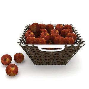 wicker red apple fruit basket 3D model