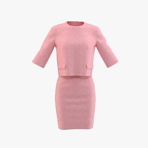 3D formal dress pink
