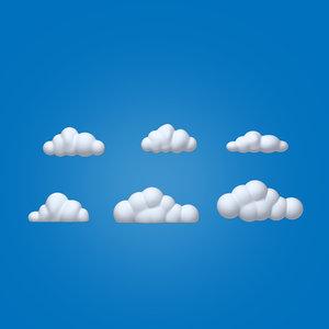 clouds cartoon 3D model