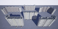 Pack of 6 Russian Panel Apartment Buildings
