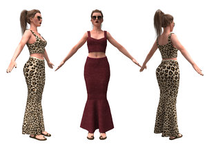 3D realistic female character skirting model