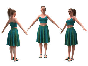 3D woman clothing skirt