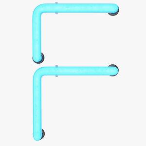 neon letter f light 3D model