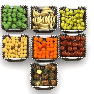 3D wicker fruit baskets set