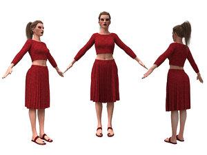 realistic girl clothing skirt 3D model