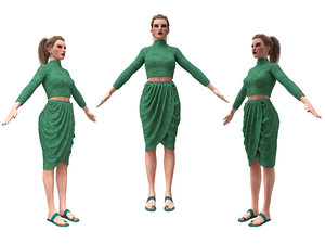 3D realistic female character clothes model