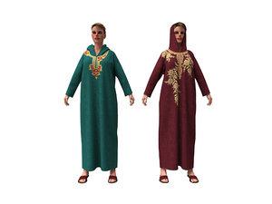 3D model woman arabian cloth