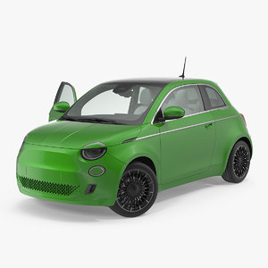 3D ev compact car rigged model