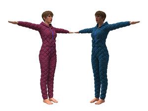 womens overalls 3D model