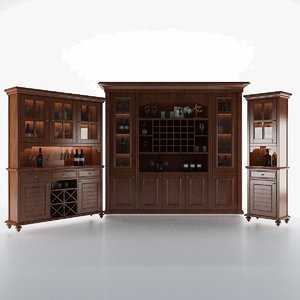 3D model dark wood cabinet
