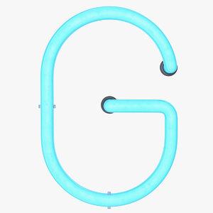 neon letter g alphabet model