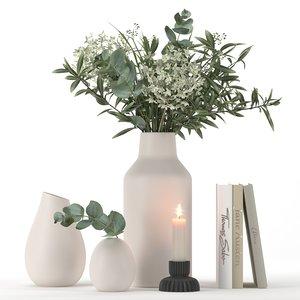 bouquet eucalyptus hydrangea plant 3D