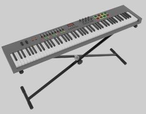 3D model 88 key midi keyboard
