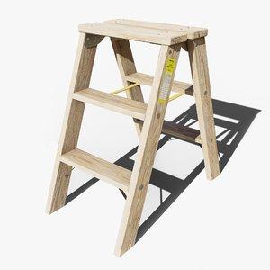 wooden stepladder gameready 3D