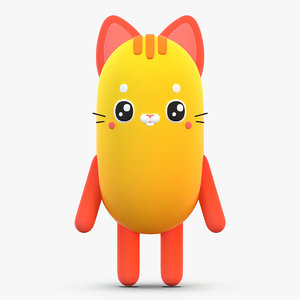 cute cartoon cat 3D model